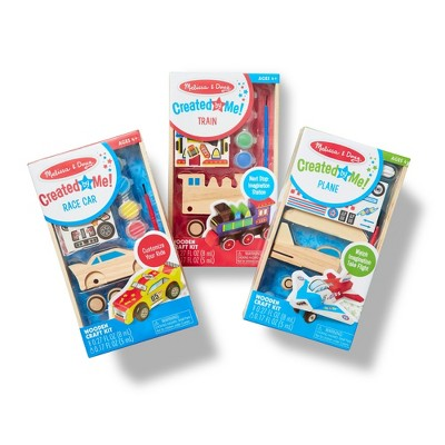 Melissa & Doug® Decorate-Your-Own Wooden Craft Kits Set - Plane, Train, and Race Car
