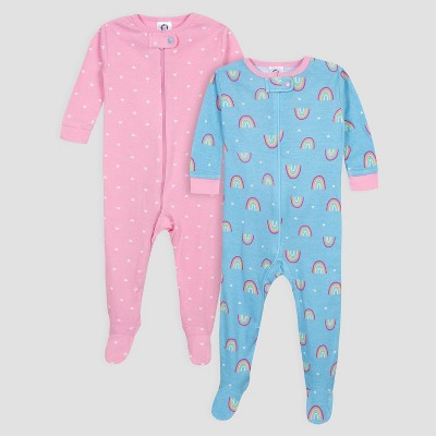 Gerber Baby Girls' 2pk Rainbow Long Sleeve Footed Unionsuit Pajama Set - Blue/Pink