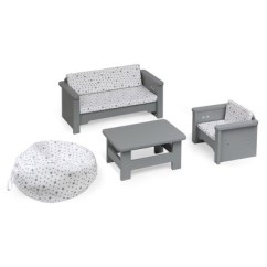 White Furniture Set Living Room Blinds Or Curtains For 18 Dolls Gray Target