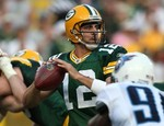 GREEN BAY, WI - AUGUST 28: Aaron Rodgers #12 o...