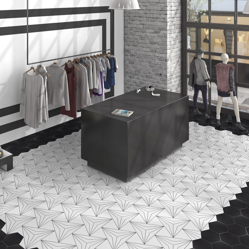 axis hexagon white wall floor tile 250x220mm