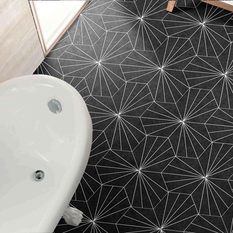 axis hexagon black wall floor tile 250x220mm