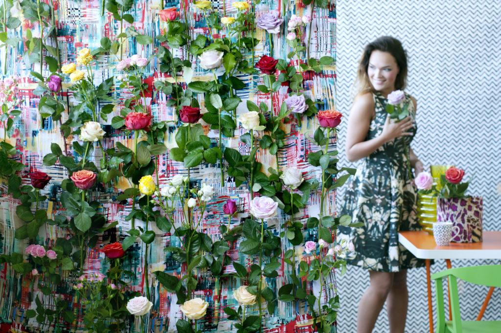 Blumendeko Wand