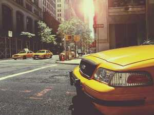 The hood of a taxi in New York City, with two other taxis in the background.