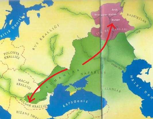 Bulgarlar Haritası (Tuna Bulgar ve İtil Bulgar Devletleri)