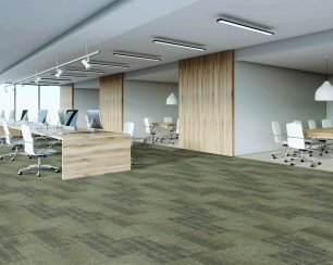 Office of call center with rows of computers and conference rooms. Concept of office work. 3d rendering, mock up