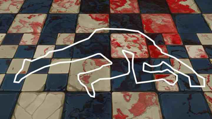 murder or manslaughter crime scene, with body tape and blood on the floor