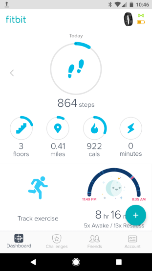 Fitbit mobile app dashboard