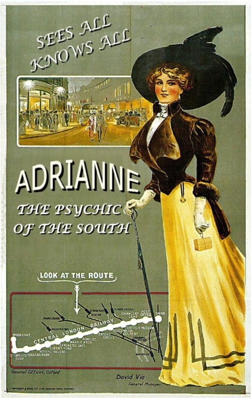 "vintage train station post style advertisement a color drawing of woman wearing a yellow fress with a white blouse and brown fur jacketvery large black hat and she's holding a elaborate walking staff, the poster reads""Adrianne The Psychic of the South"""