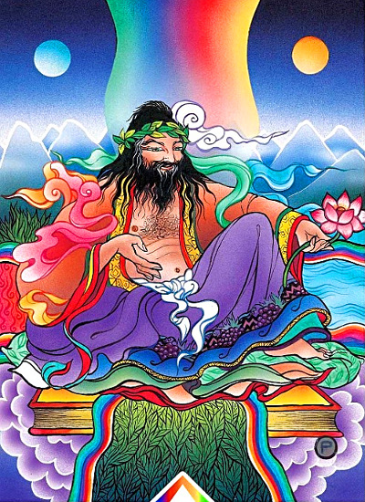 colorful image of long haired, bearded man wearing flowing gowns holding a lotus flower and floating on a book in a fantasy landscape