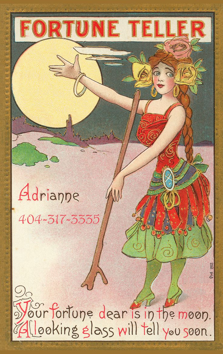 cartoon fortune teller woman standing on a beach in front of a supermoon
