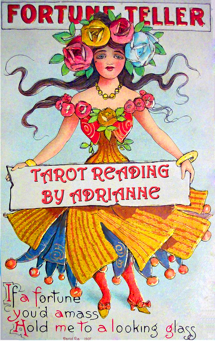 "An image of a very colorful poster/illustration of a gypsy woman holding a banner. At the top of the poster it says ""Fortune Teller"" in the center she is holding the banner that reads"