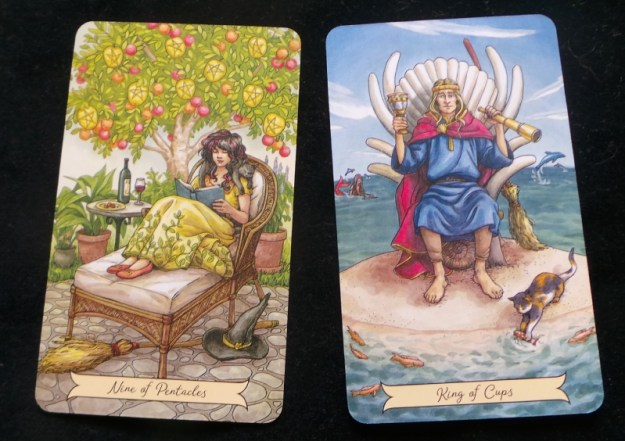 Nine of Pentacles King of Cups stashed and benched