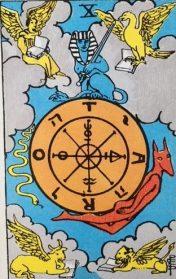 Het Rad van Fortuin uit het Waite Smith Tarot Deck