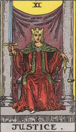 Tarotkaart XI uit het RWS deck