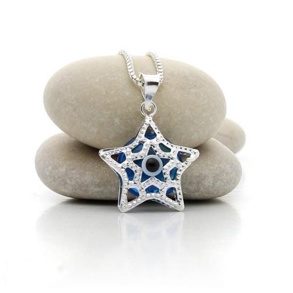 Colgante de plata en estrella con ojo turco