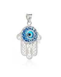 Mano de Fátima en plata con ojo turco