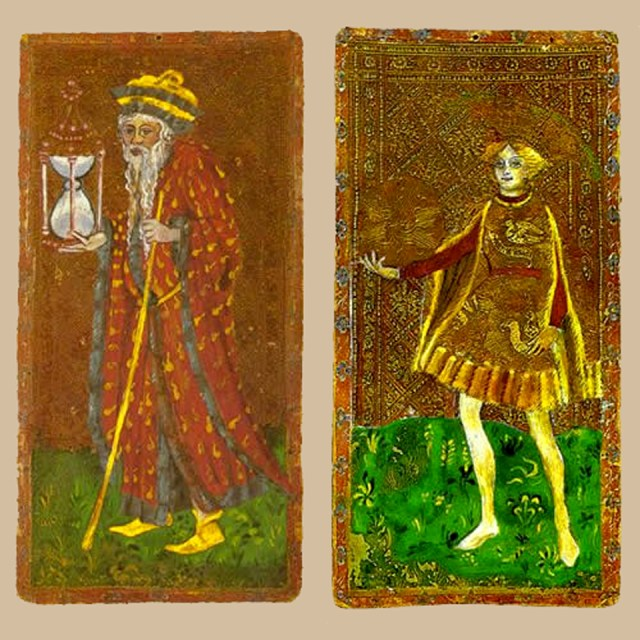 The Hermit and the Page of Disks, Cary-Yale Visconti Tarot deck