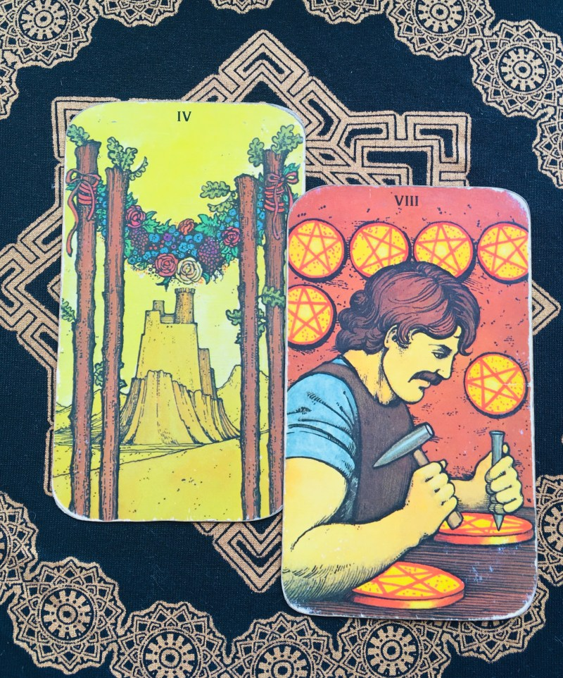 Tarot reading, Eight of Coins and Four of Rods.