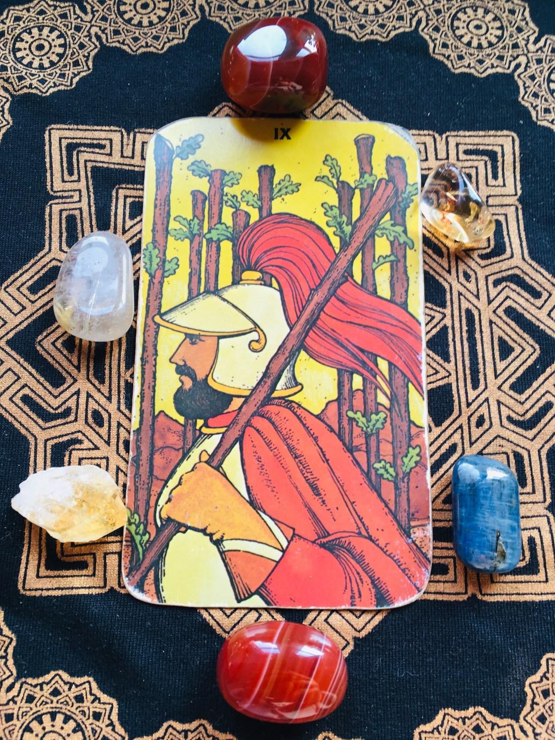 Nine of Rods Tarot card