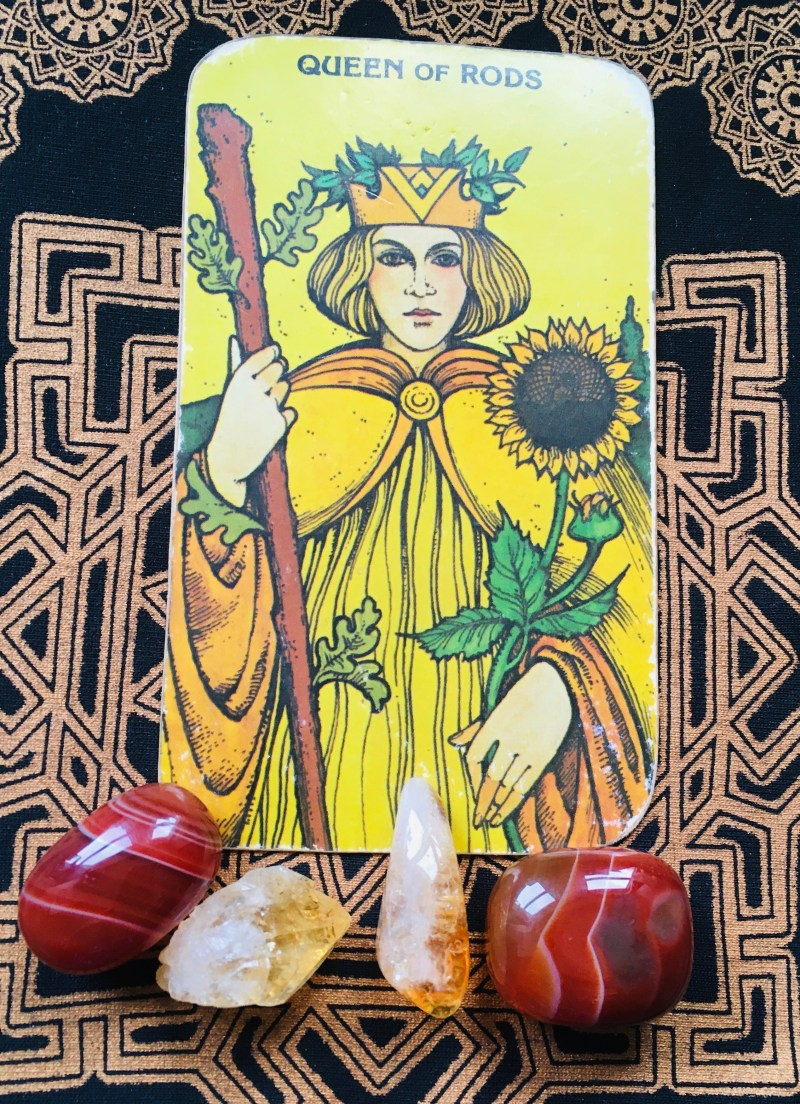 Queen of Rods, Tarot card