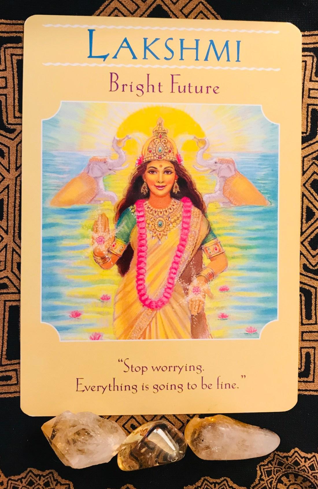 tarot card of the week is create abundance and Lakshmi, Hindi Goddess