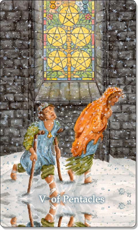 Image of The Five of Pentacles card