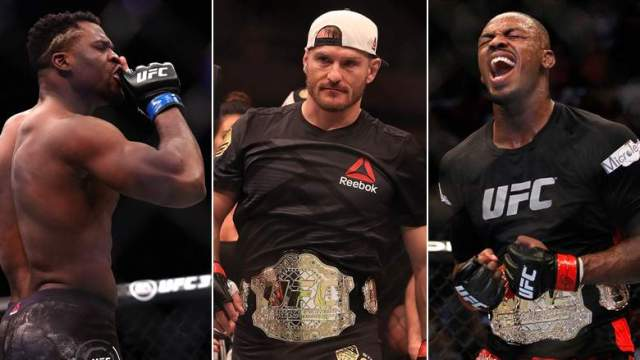 Francis Ngannou, Stipe Miocic, and Jon Jones make up the heavyweight title picture