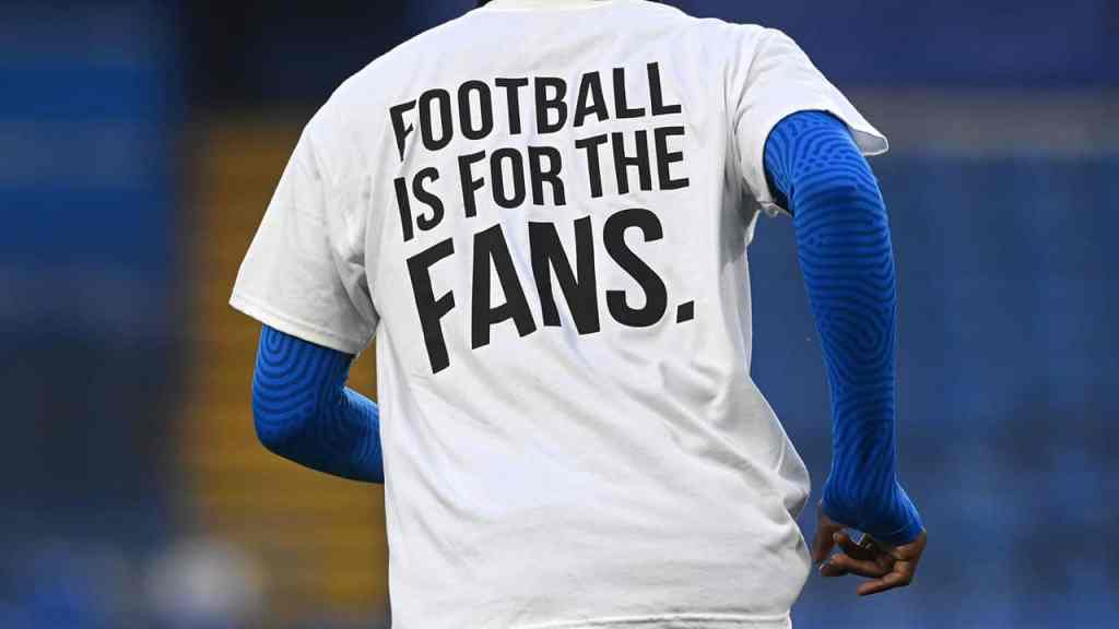 "Leeds United player wearing ""Football is for the Fans"" shirt"