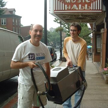 Dean Gallea and Greg Galloway who spearheaded the volunteer-driven effort to bring films back to the Music Hall in 2004.