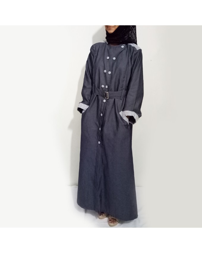 Grey Front Buttoned Checkered Velvet Strips Denim Abaya Online Shopping In Pakistan