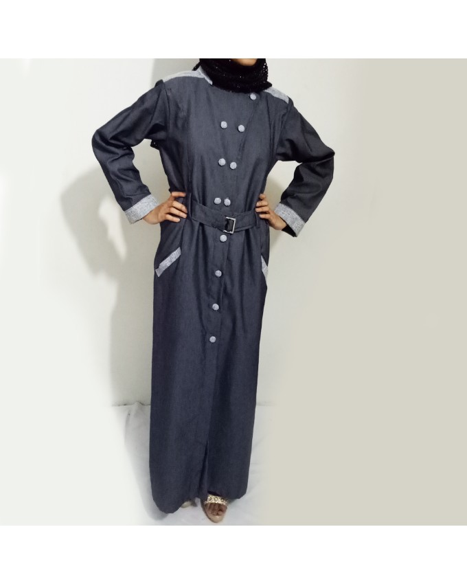 Grey Front Buttoned Checkered Velvet Strips Denim Abaya Tarseel.pk A Online Shopping Store In Pakistan