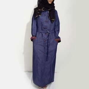 Denim-Abaya-Blue-Front-Buttoned-With-Mehroon-Checkered-Velvet-Strips-Stylish-Abaya-And-Turkish-Coats