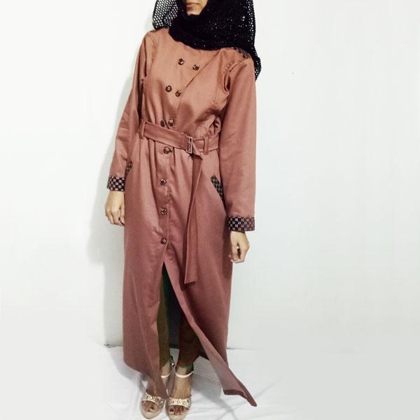 Denim-Abaya-Front-Buttoned-Checkered-Velvet-Strips