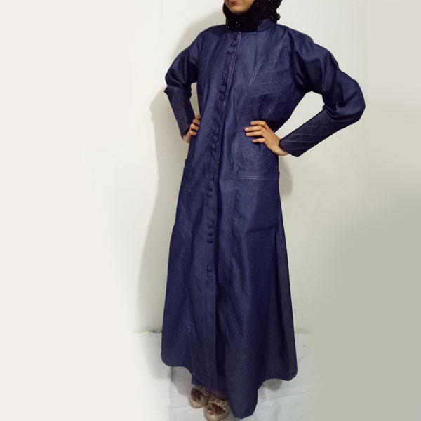 Denim-Abaya-Front-Buttoned-With-Thread-Design-Abaya-online abaya shopping in pakistan