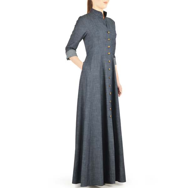 Grey-Summer-Wear-Maxi Style Denim Abaya-Latest-Design
