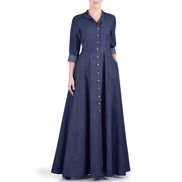 Navy-Blue-Summer-Wear-Maxi-Style-Denim-Abaya-Coat-In-Pakistan