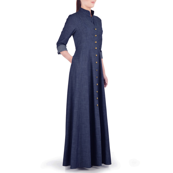 Navy-Blue-Summer-Wear-Maxi-Style-Denim-Abaya-Latest-Design-Coat-Online-In-Pakistan