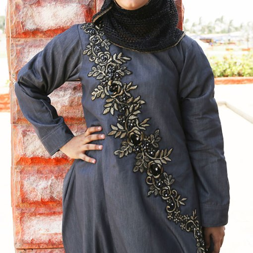 Buy-Front-Embroidered-Denim-Abaya-Online-In-Pakistan..