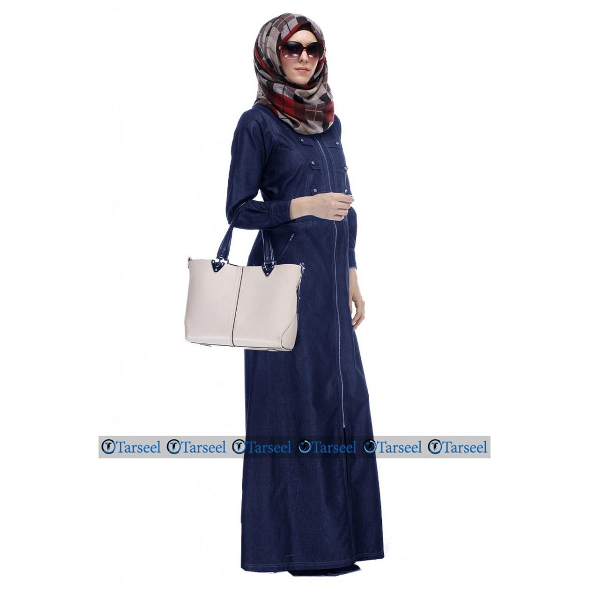 Buy-Front-Full-Zipper-Denim-Abaya-Fashion-Online-In-Pakistan