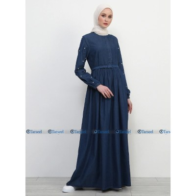 Flare Design Denim Abaya With Pearls On Sleeves