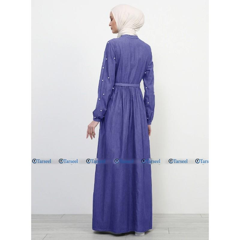 Light Blue Flare Design Denim Abaya With Pearls On Sleeves