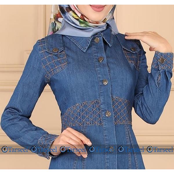 Special Thread Design Denim Abaya For Her
