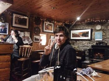 Joe drinking in the Applecross Inn