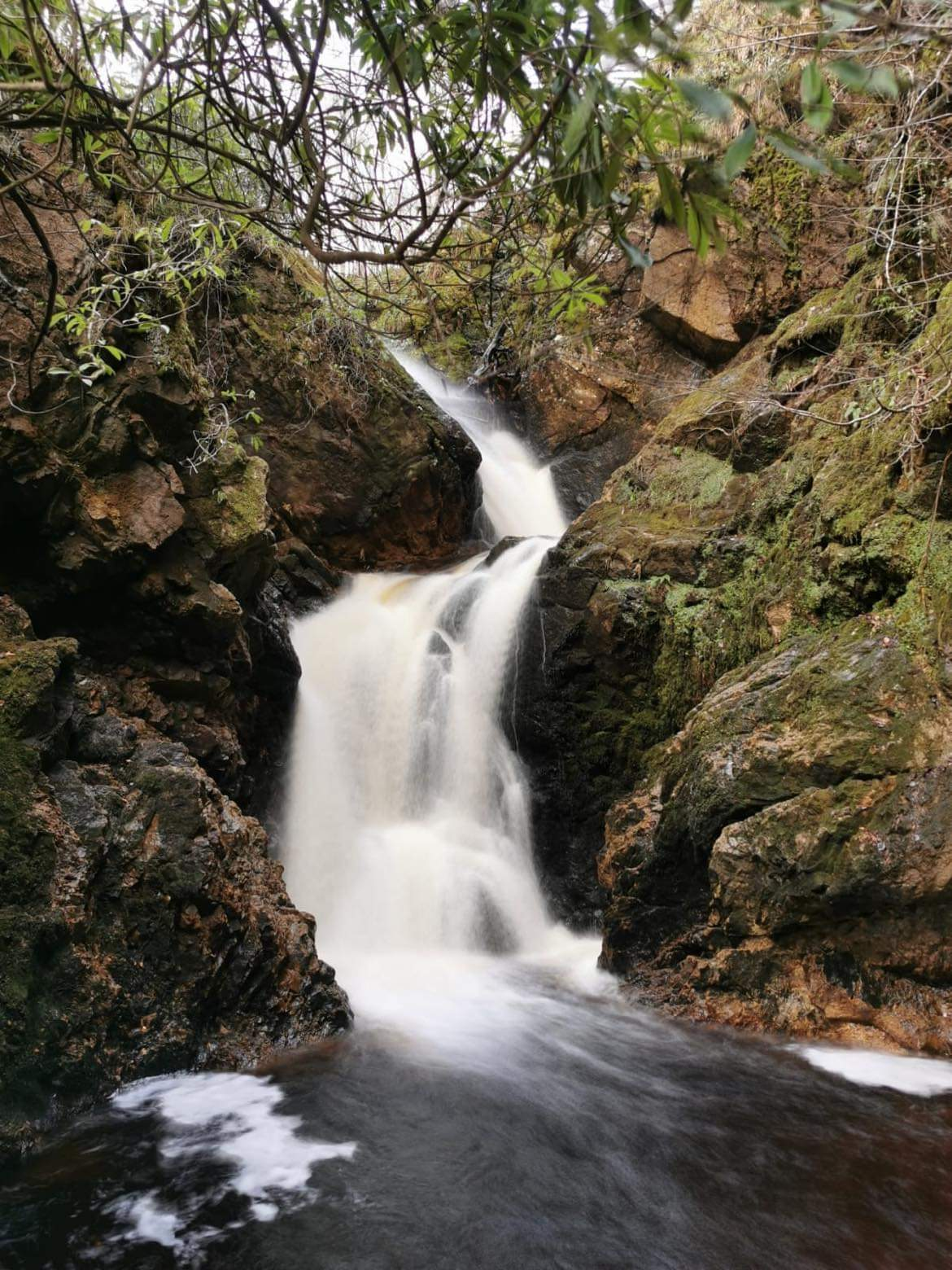 Large waterfall at big burn gorge