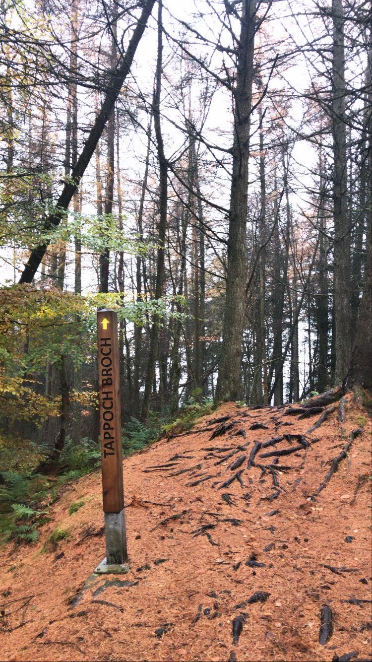 Signpost for Tappoch Broch