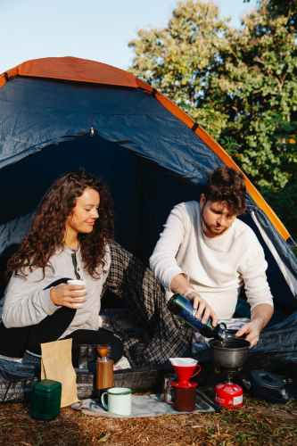 a couple camping