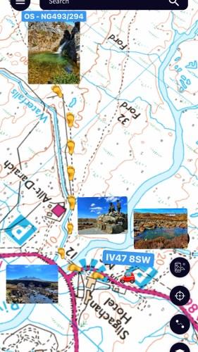 Map to find hidden waterfall on Allt Daraich
