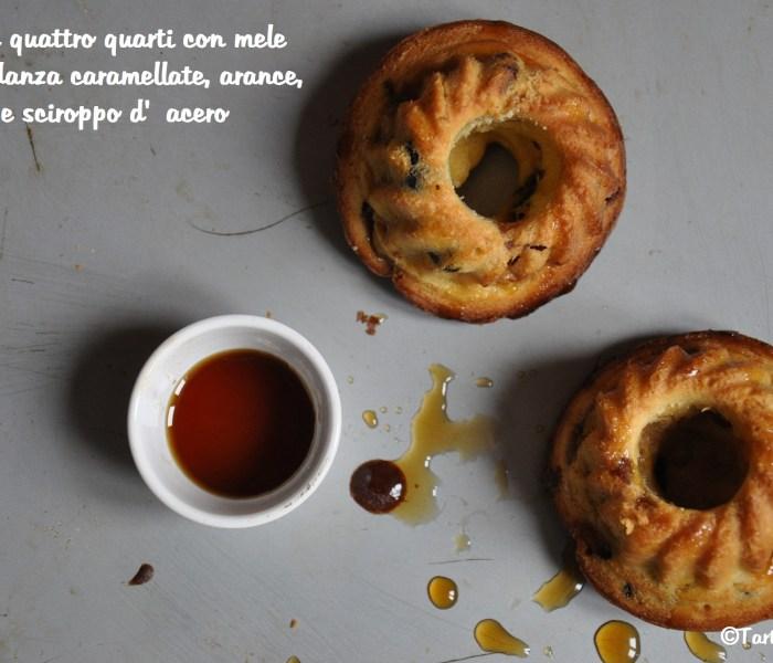 Tortine quattro quarti con mele Abbondanza caramellate, arance, mirtilli e sciroppo d'acero