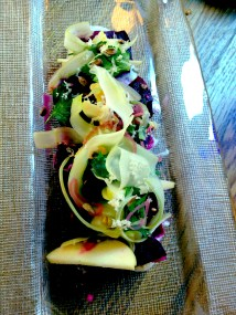 "My husband ordered the ""girley"" starter: local beet, fennel salad with smoked eggs"